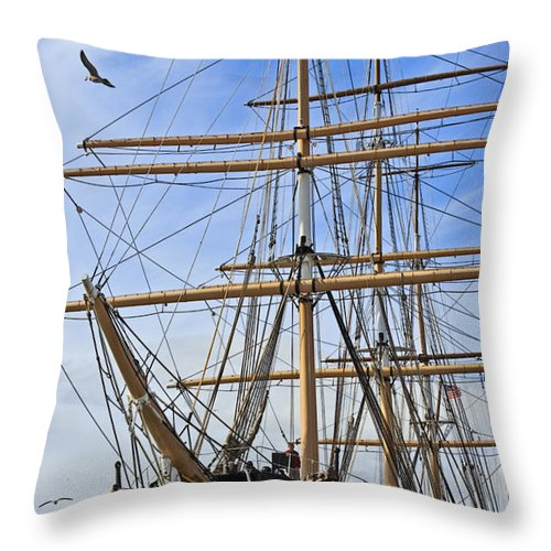 Kate Brown Throw Pillow featuring the photograph Balclutha by Kate Brown