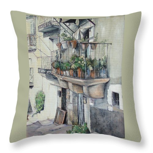 Fermoselle Throw Pillow featuring the painting Balcon de piedra by Tomas Castano