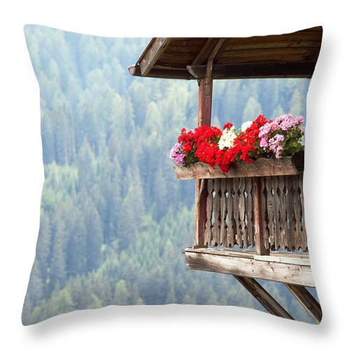 Balcony Throw Pillow featuring the photograph Balcony Overlooking The Forest by Matteo Colombo