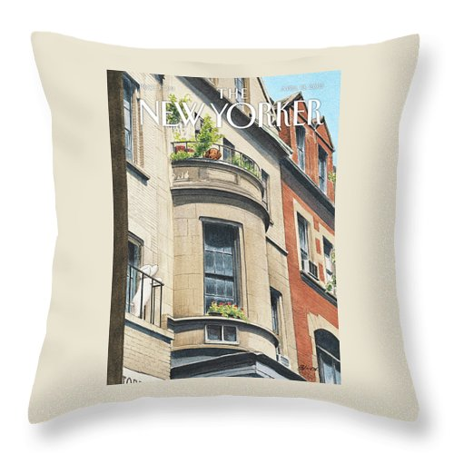 Dog Throw Pillow featuring the painting Balcony Scene by Harry Bliss
