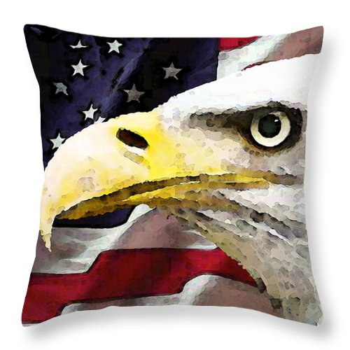 America Throw Pillow featuring the painting Bald Eagle Art - Old Glory - American Flag by Sharon Cummings