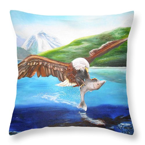 Eagle Throw Pillow featuring the painting Bald Eagle Having Dinner by Thomas J Herring