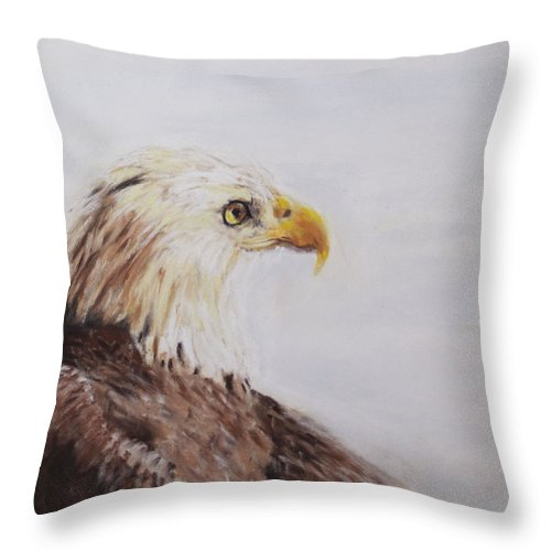 Bald Throw Pillow featuring the painting Bald Eagle by Sandy Brooks