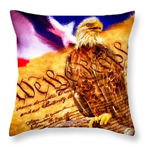 Nature Throw Pillow featuring the painting Bald Eagle With American Flag And Constitution Art Landscape by Andres Ramos