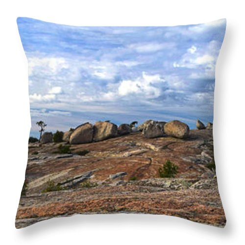 Bald Rock Dome Throw Pillow featuring the photograph Bald Rock Panorama by Frank Wilson