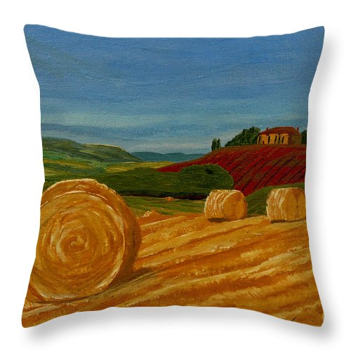 Hay Throw Pillow featuring the painting Field Of Golden Hay by Anthony Dunphy