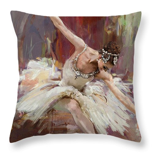 Catf Throw Pillow featuring the painting Ballerina 36 by Mahnoor Shah