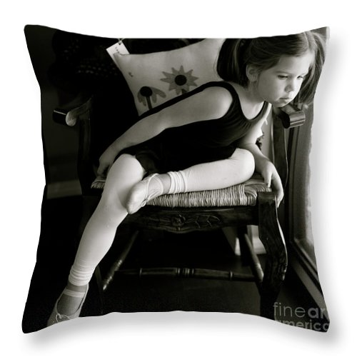 Ballerina Throw Pillow featuring the photograph Ballerina in Black and White by Nadine Rippelmeyer
