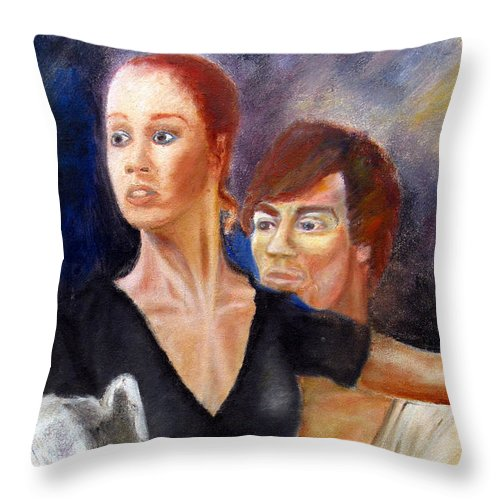 Ballet Throw Pillow featuring the painting Ballet Dancers Rehearse For La Bayadere by Tom Conway