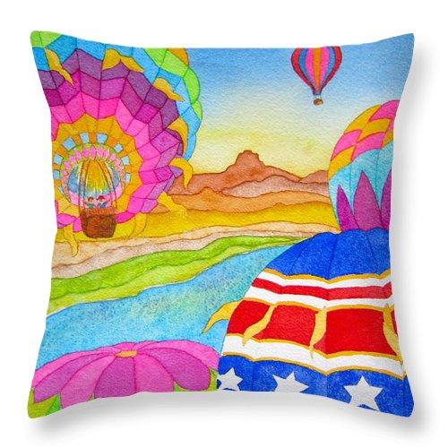 Lynn Morgan Throw Pillow featuring the painting Balloon Festival Yuma by Lynn Morgan -              L L Morgan Art