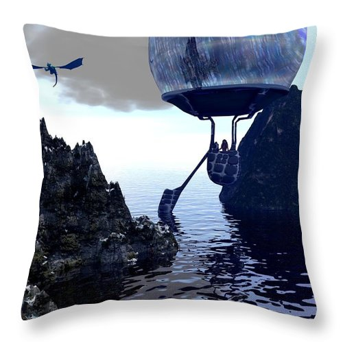 Seascape Throw Pillow featuring the digital art Ballooning by Charles McChesney