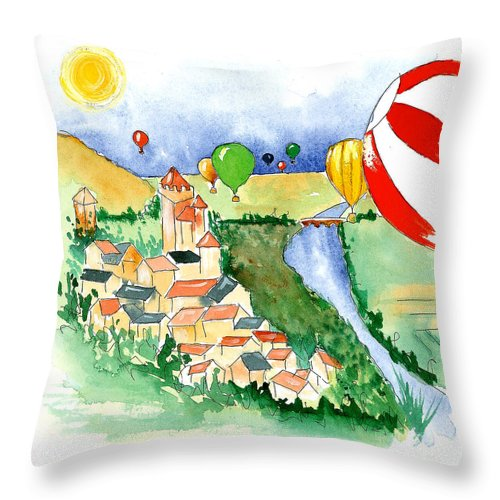 Illustrations Throw Pillow featuring the mixed media Ballooning In France 2 by Leah Wiedemer