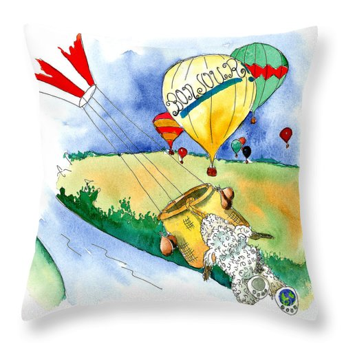 Art For Kids Throw Pillow featuring the mixed media Ballooning In France by Leah Wiedemer
