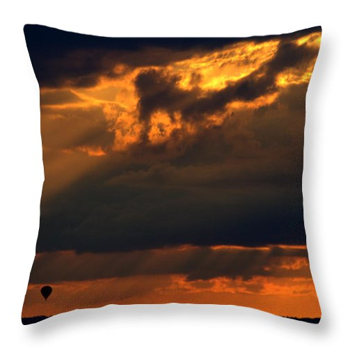 Hot Air Balloon Throw Pillow featuring the photograph Ballooning With The Gods by Roger Parker