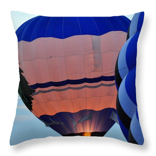 Hot Air Balloons Throw Pillow featuring the photograph Balloons Before Sunset by Diane Lent