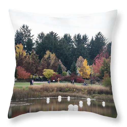 Fall Lake Throw Pillow featuring the photograph Balls Of Fall by James Little