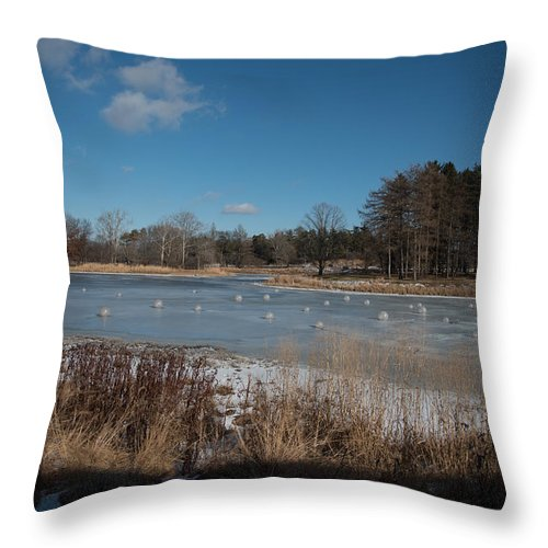 Landscape Throw Pillow featuring the photograph Balls Of Ice by James Little