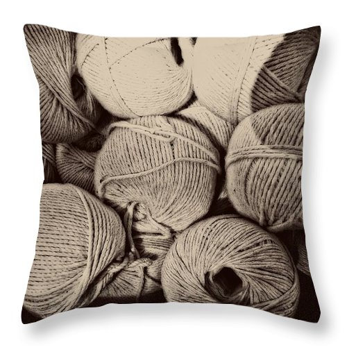 String Throw Pillow featuring the photograph Balls Of String by Alice Gipson