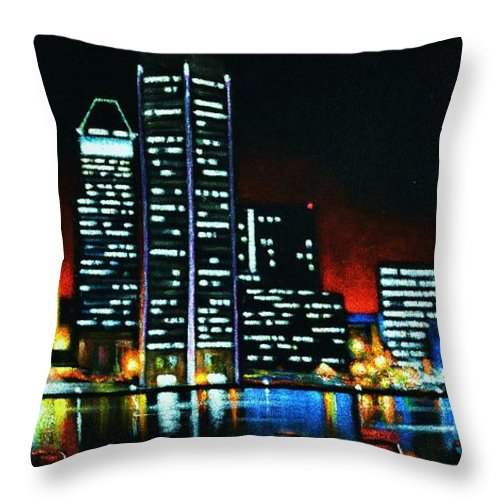 Black Velvet Paintings Throw Pillow featuring the painting Baltamore by Thomas Kolendra