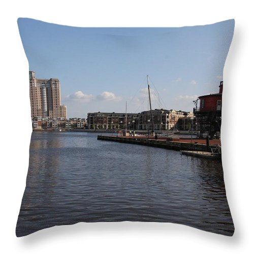 Harbor Throw Pillow featuring the photograph Baltimore Harbor With Seven Foot Knoll Light by Christiane Schulze Art And Photography