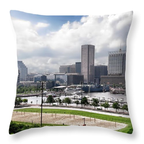 Baltimore Throw Pillow featuring the photograph Baltimore Maryland by Olivier Le Queinec