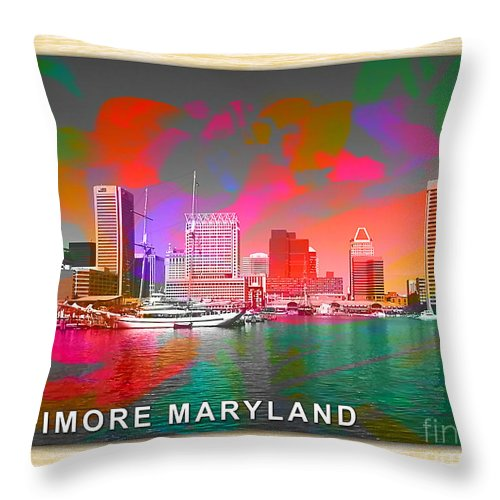 Baltimore Maryland Skyline Painting Throw Pillow featuring the mixed media Baltimore Maryland Skyline by Marvin Blaine