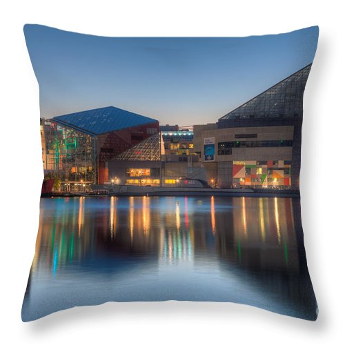 Clarence Holmes Throw Pillow featuring the photograph Baltimore National Aquarium At Dawn I by Clarence Holmes