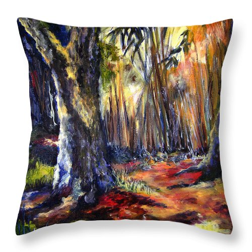 Colorful Throw Pillow featuring the painting Bamboo Garden With Bunny by Julianne Felton