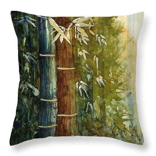 Floral Throw Pillow featuring the painting Bamboo by Marisa Gabetta