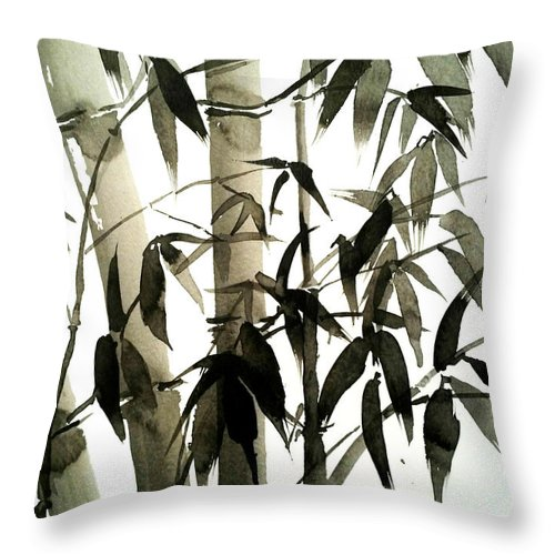 Bamboo Throw Pillow featuring the painting Bamboo by Sepideh Prs