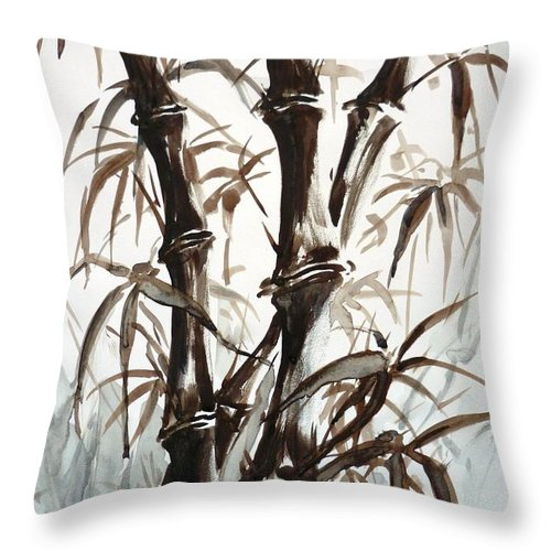 Bamboo Throw Pillow featuring the painting Bamboo by Zaira Dzhaubaeva