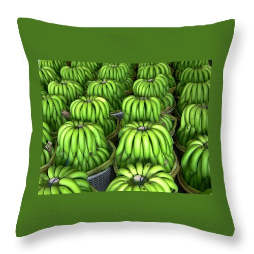 Banana Throw Pillow featuring the photograph Banana Bunch Gathering by Douglas Barnett