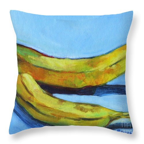 Fruit Throw Pillow featuring the painting Bananas by Jan Bennicoff
