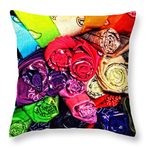 Colorful Throw Pillow featuring the photograph Bandanas by Mike Martin