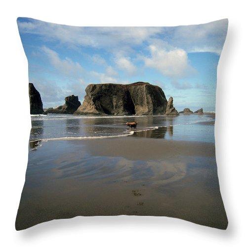 Bandon Throw Pillow featuring the photograph Bandon Beach by Michele Avanti