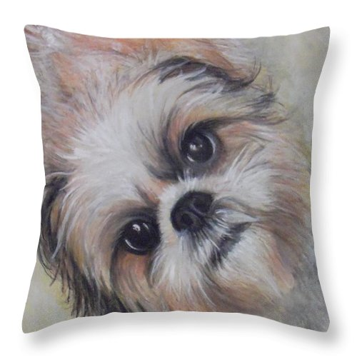 Dog Throw Pillow featuring the drawing Banjo by Linda Nielsen