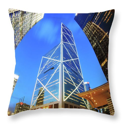 Corporate Business Throw Pillow featuring the photograph Bank Of China Hong Kong by Samxmeg
