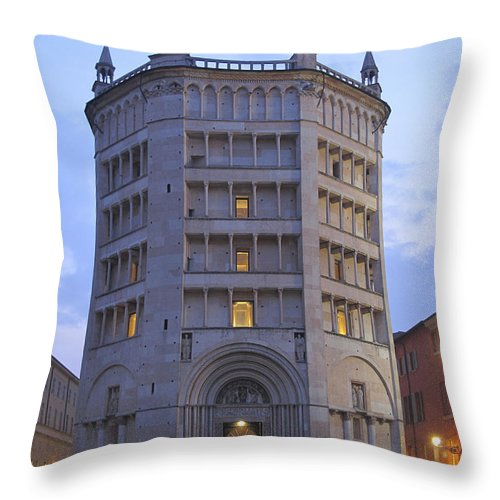 Baptistry Throw Pillow featuring the photograph Baptistery Of Parma by Riccardo Mottola