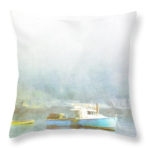 Bar Harbor Throw Pillow featuring the photograph Bar Harbor Maine Foggy Morning by Carol Leigh
