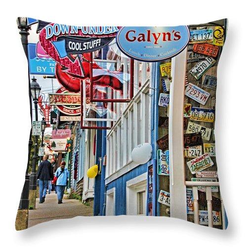 Bar Harbor Throw Pillow featuring the photograph Bar Harbor Sidewalk by Jack Schultz