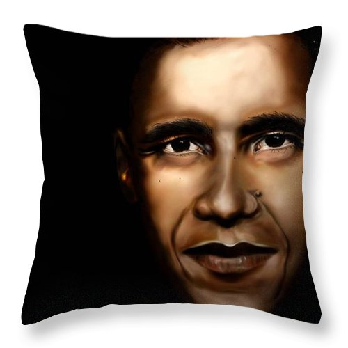 Digital Throw Pillow featuring the painting Barack Obama - New Day by Anthony Anthony ICONS