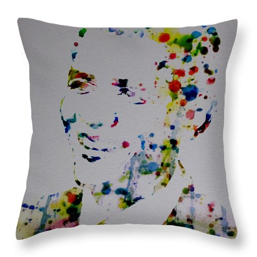 Barack Obama Throw Pillow featuring the digital art Barack Obama Paint Drops by Brian Reaves