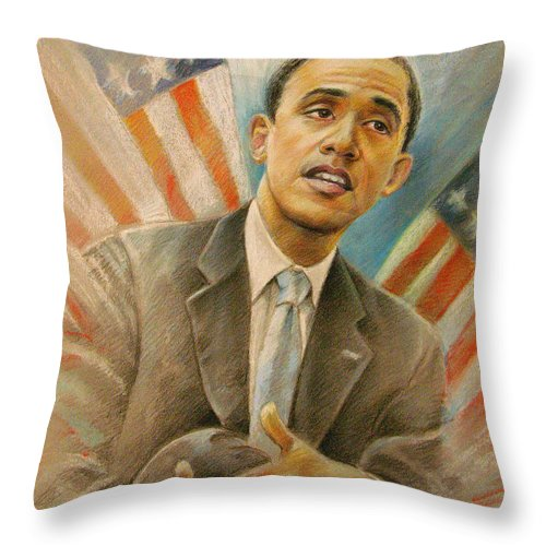 Barack Obama Portrait Throw Pillow featuring the painting Barack Obama Taking It Easy by Miki De Goodaboom