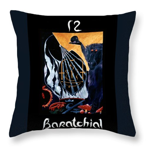 Shadow Tarot Throw Pillow featuring the mixed media Baratchial - The Magus by Linda Falorio