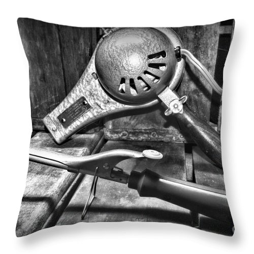 Paul Ward Throw Pillow featuring the photograph Barber - Vintage Hair Care In Black And White by Paul Ward