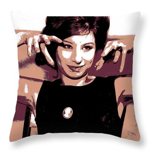Barbra Streisand Throw Pillow featuring the digital art Barbra Streisand - Brown Pop Art by Absinthe Art By Michelle LeAnn Scott