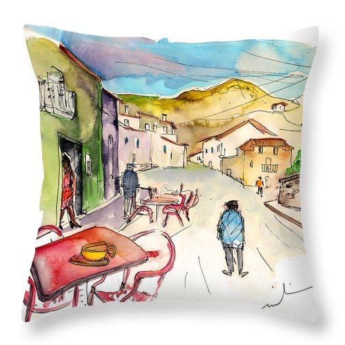 Portugal Throw Pillow featuring the painting Barca De Alva Street 01 by Miki De Goodaboom
