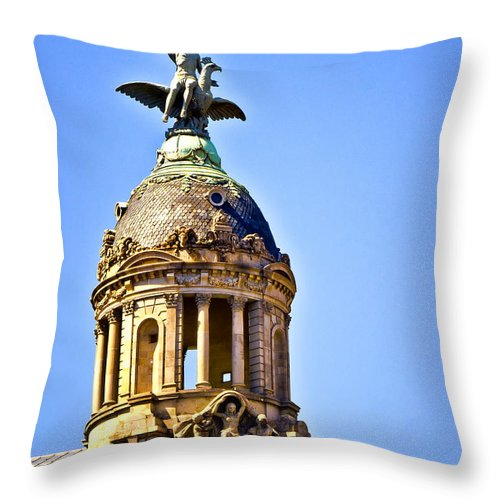 Barcelona Throw Pillow featuring the photograph Barcelona Dome by Jon Berghoff