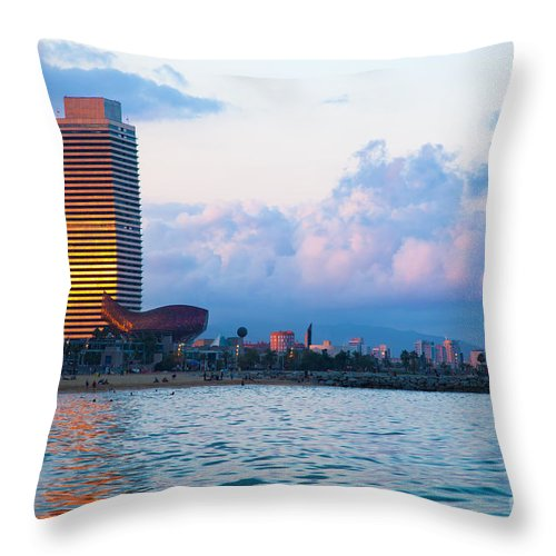 Barcelona Throw Pillow featuring the photograph Barcelona Skyline From Sea by Michal Bednarek