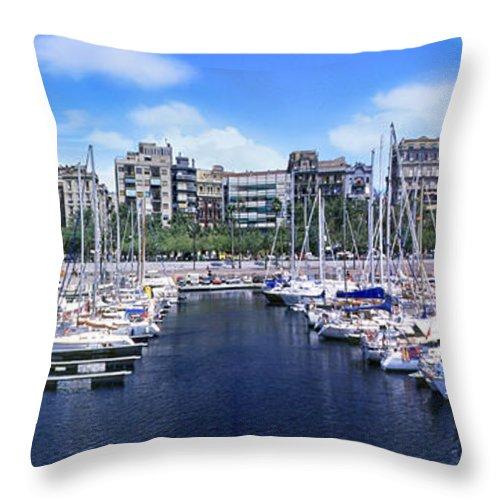 Barcelona Throw Pillow featuring the photograph Barcelona Spain Port Vell Marina 3 by David Zanzinger
